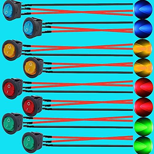 YeVhear - Interruptor basculante LED de 8 piezas, interruptor de palanca de 12 V, interruptor basculante redondo, interruptor basculante de vehículo, interruptor SPST de 12 V, botón redondo para vehí