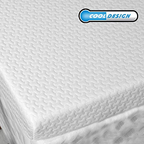 RUUF Memory Foam Mattress Topper Short Queen | 3-Inch High Density Active Cooling Bed Topper | Removable & Washable Hypoallergenic Cover | Medium-Firm