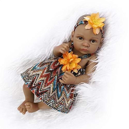 Lifelike Muñeca Reborn Bebé Hecho A Mano Suave Silicona Negro African American Bebé Recién Nacido Juguete, 10Inch 27CM,Girl b