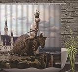 JOVEGSRVA Cortinas de ducha para gatos y ratones, resistentes al agua, cortina de baño a prueba de moho, cortina de baño con 12 ganchos, 180 x 180 cm