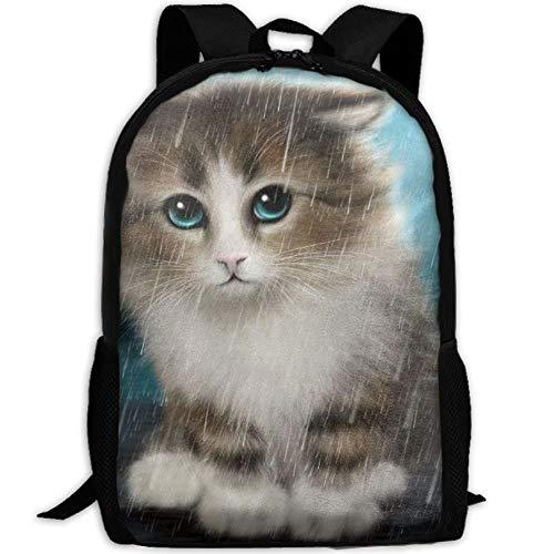 best& Cute Kitten In The Rain School Rucksack College Bookbag Unisex Travel Backpack Laptop Bag