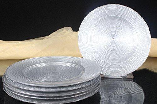 6x Kuchenteller Kuchen Teller Dessertteller Glas silber Servierplatte ca.Ø=21 cm