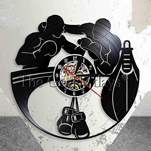 FDGFDG Boxing Vinyl Record Wanduhr Boxhandschuhe Stanzen Silent Quartz Clock Watch Geschenk für den Kampf gegen Sport Boxer Scrappers Decor