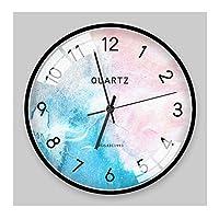 家庭生活壁時計サイレント非カチカチバッテリー式リビングルームの装飾キッチン寝室の装飾ラウンドクリエイティブパーソナライズされたアート時計14インチ時計(色:D)