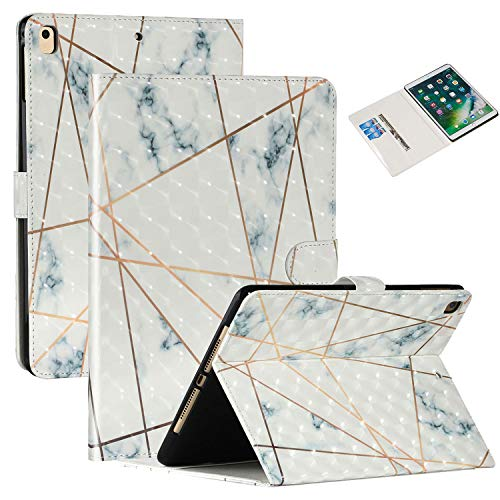 New iPad 8th/7th Gen 10.2' 2020/2019 Case, iPad Air 3rd Gen 10.5' 2019/iPad Pro 10.5' 2017 Case,Coopts PU Leather Shock Proof Protective Stand Case with Auto Sleep Wake for iPad 10.2 2020,White Marble