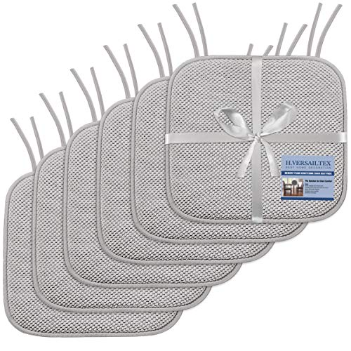 H.VERSAILTEX Premium Chair Cushions Memory Foam Chair Pads 6 Pack - 16x16 Inch Thick Soft Seat Cushion Pads Non Slip with SBR Backing and Straps - Durable Mats Pads for Lounge, Kitchen, Gray Georgia