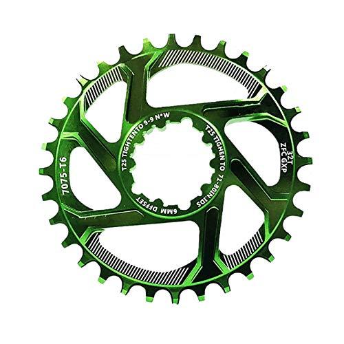 LOVEYue Bicicleta De Montaña 30/32/34 / 36T Plato Rueda De Cadena Offset 6mm para GXP XX1 X0 X9, Accesorios Bicicleta Verde 34