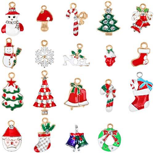KATELUO Weihnachten Anhänger Charme, Mini Anhänger Weihnachten Deko, Weihnachtsbaum Anhänger, Anhänger Weihnachtsschmuck für DIY Weihnachtsschmuck zum Hängen Weihnachten Dekoration (19 Stück)