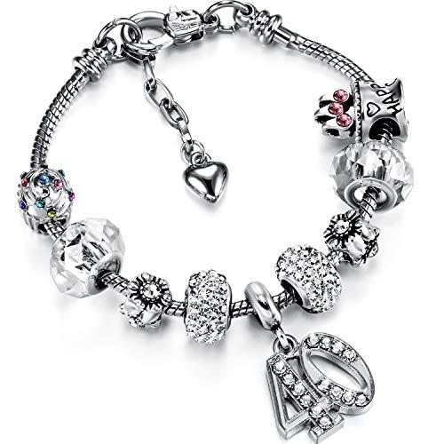 Bracelet à Breloque d'Anniversaire de Femmes avec...