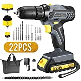 TOPELEK 20V Cordless Drill 2.0Ah Lithium-ion Battery Drill/Driver, Compact Drill Kit with LED