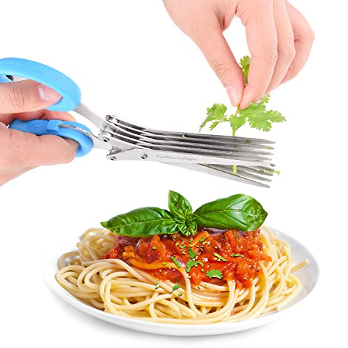 Herb Scissors - with Kitchen Gadgets Retail Package - Multipurpose Kitchen Shears - 5 Extremely Sharp Stainless Steel Blades - Handy Cleaning Comb - Multi Blade - Time-Saving - Chop Herbs