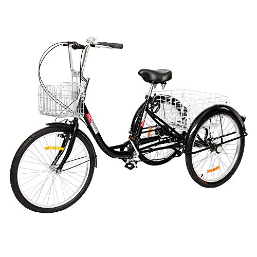 PEXMOR Adult Tricycle, 7 Speed Trike Cruise Bike with 24' Wheels, 3 Wheeled Bike with Foldable Front and Rear Basket Adjustable Height Seat for Adults Recreation, Shopping, Picnic, Exercise, Black