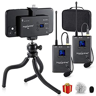 Dual Wireless Lavalier Microphone for iPhone Android Smartphone Camera- UHF Omnidirectional Rechargeable Wireless Microphone System 2 transmitters 1 receiver for Youtube Interview Vlogging- ZHUOSHENG