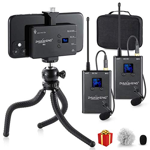 Dual Wireless Lavalier Microphone for iPhone Android Smartphone Camera- UHF...