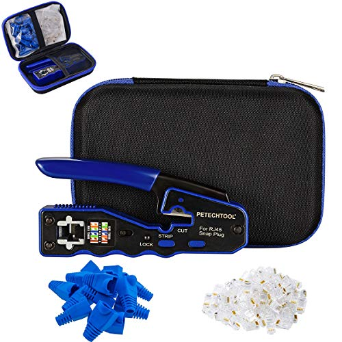 RJ45 Crimp Tool for Cat6 Cat5e Cat5 Pass Through Connectors,All-in-one EZ Crimping Tool Wire Stripper Cutter with 20/20 Pieces Cat6 Connectors and Boots and 1 Piece Crimp Tool Case