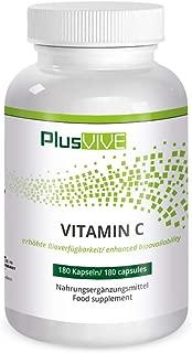 Plusvive - Vitamina C natural con bioflavonoides y matriz de biodisponibilidad, 180 cápsulas