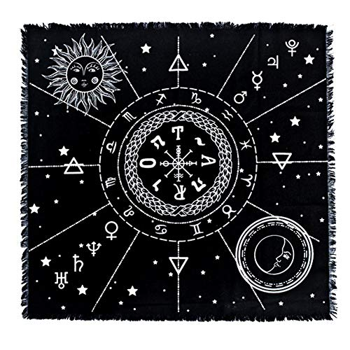 Tarot Tischdecke, 12 Sternbilder Sonne und Mond Altar Tarot Tischdecke Tarot-Tücher mit Quaste für Tarot Karten, Weissagung, Brettspielkarten, Schwarz