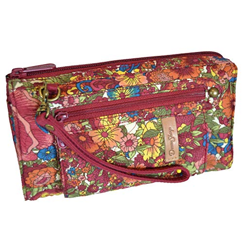 Donna Sharp Deidre Wallet in Watercolor Flower - Great for Travel and Special Occasions - Removable Straps for Crossbody or Wristlet Style