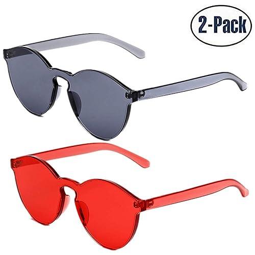 470f7752e9dc JOJO S SECRET One Piece Rimless Sunglasses Transparent Candy Colorful Retro  Sunglasses for women JS017
