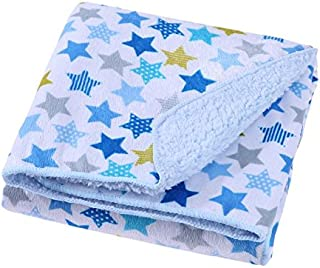 Baby Bucket AC Double Layer Velvet Fleece Newborn Printed 102cm X 76cm Size Baby Blanket(White & Blue Stars)