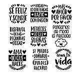 9 Vinilos de pared con frases motivadoras. Ideal para enchufes, espejos, cristales. Todo tipo de...
