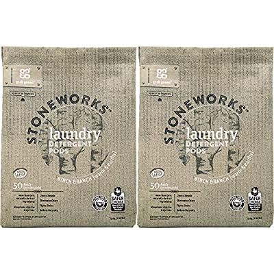 Grab Green Stoneworks Laundry Detergent Pods, Powered by Naturally-Derived Plant & Mineral-Based Powder Pods, Birch Branch, 50 Count (Pack of 2) Loads, EPA Safer Choice Certified