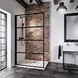 Schulte Paroi de douche fixe à l'italienne, Walk In style industriel, sans silicone, verre décor Loft 2, profilé noir,...