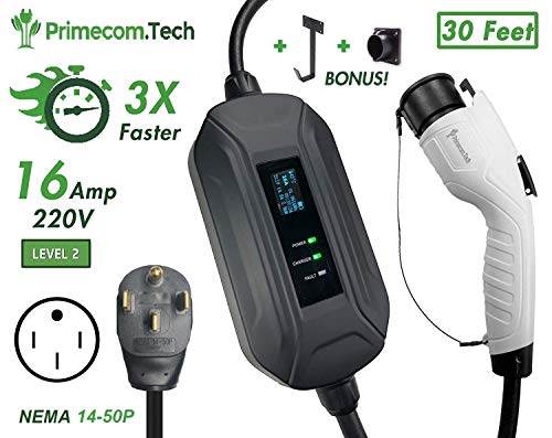 PRIMECOM Level 2 EV Charger 220/240V, 16A, 30ft & 50ft, Portable EVSE Electric Vehicle Charging Cable Compatible with Bolt Volt Leaf BMW i3 Fiat 500e Clarity NIRO Prius (30 Feet, 14-50P)