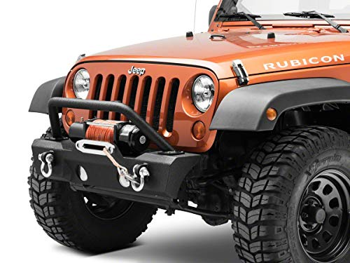 RED ROCK Attack Stubby Front Bumper 4x4 with Winch Mount Fits Jeep Wrangler JK 2007-2018