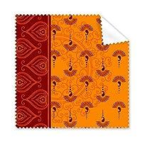 プリント リピートクロス オレンジ カラフル アート グレイン イラスト パターン メガネ クロス クリーニング 布 電話 スクリーン クリーナー 5枚
