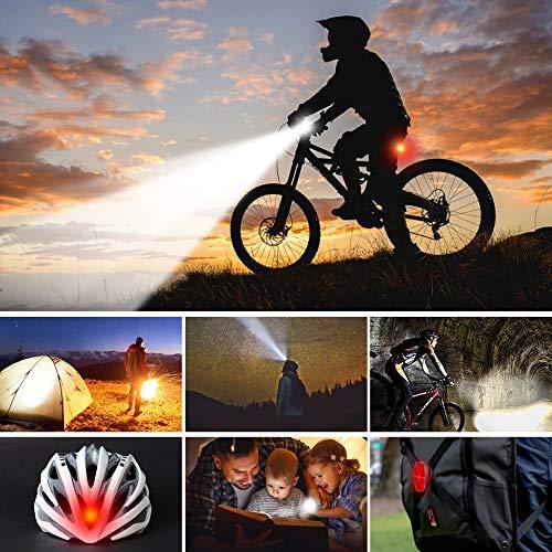 LIFEBEE LED Fahrradlicht, Batterie Fahrradbeleuchtung Fahrradlampe Fahrradlicht Vorne Rücklicht Set, Wasserdicht Batterieleuchtenset für Fahrrad, 2 Lichtmodi, Batterie Nicht inklusive - 5