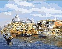 番号によるDiyペイントデジタル油絵ツールキット海事ヴェネツィアデジタル油絵プレスデジタルツールキットブラシ付き絵画装飾絵画ギフト