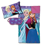 Disney Frozen 3 Piece Sleepover Set - Cozy & Warm Kids Slumber Bag with Pillow & Eye Mask Featuring Elsa and Anna (Official Disney Product)