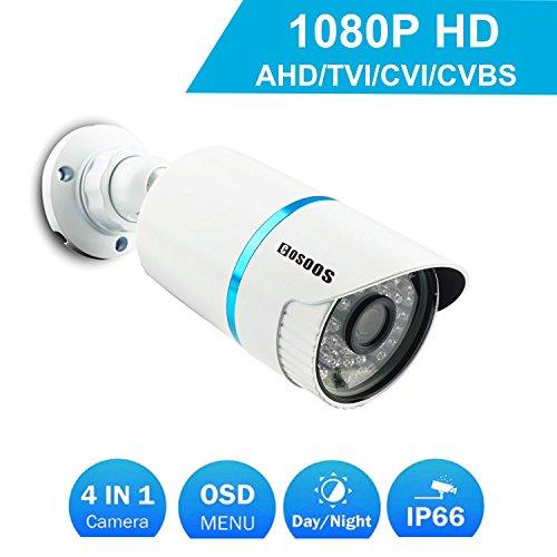 COSOOS Telecamera di sicurezza Bullet 1080P 1920TVL, ibrida 2.0 Megapixel 4-in-1 HD-TVI/CVI/AHD/CVBS Telecamera di sorveglianza esterna/Interna impermeabile, obiettivo 3,6 mm 48 LED