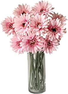 Rae's Garden Artificial Flowers Realistic Fake Flowers Gerbera Daisy Bridal Wedding Bouquet for Home Garden Wedding Party Decorations 10 Pcs (Pink)