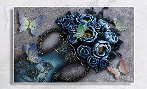 Fotobehang - blauwe rozen vaas vlinder landschap vliesbehang voor woonkamer slaapkamer kantoor hal decoratie wandschilderijen moderne wanddecoratie 300x210 cm - 6 Streifen