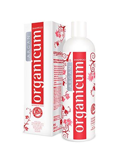 Shampoing Organicum ARGAN pour cheveux colorés et traités chimiquement, 350 ml – complexe hydrosol organique – sans silicone, sans parabène et sans sulfate agressif, végan