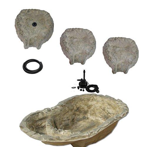 wasserkaskaden Système Complet de Cascade à Eau Fulda Granit Gris/Vert 112 x 70 x 31 cm 100 l/7 pièces
