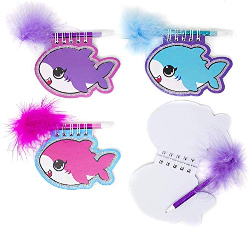 12 Shark Pup Notebooks with Feather Pens | Perfect for Shark Pup Shark Baby Party Supplies | 12 Notebooks and 12 Pens per Order by Happy Deals~