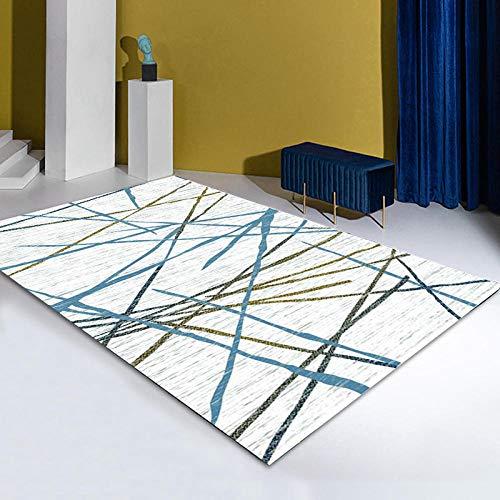 CCTYJ Líneas Marrones Azules Moda Simple Dormitorio Moderno Junto a la Cama sofá de Noche Sala de Estar Alfombra para el hogar-El 100x120cm fácil de Limpiar Igual Que la Foto Pelo Corto relación Cali