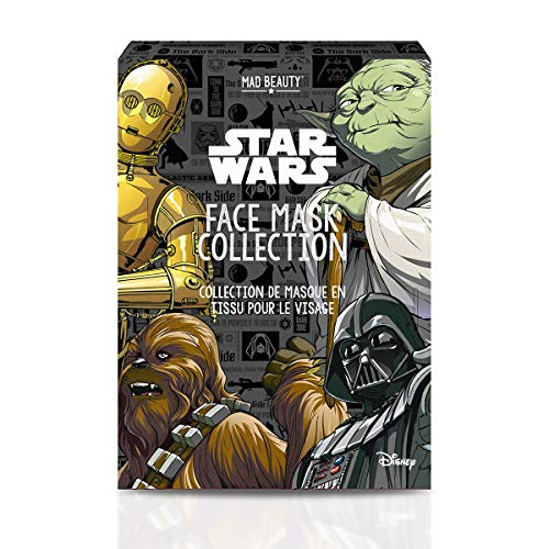 Mad Beauty Disney Star Wars Gesichtsmaske Set: 4 Tuchmasken von Krieg der Sterne: Darth Vader, Yoda, C3PO und Chewbacca als Tuchmaske für eine gepflegte Haut