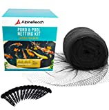 AlpineReach Koi Pond Netting Kit 28 x 30 Feet Gift Box - Woven Fine Mesh Heavy Duty Stretch Net Cover for Leaves - Protects Koi Fish from Blue Heron Birds Cats Predators Protection Stakes Included