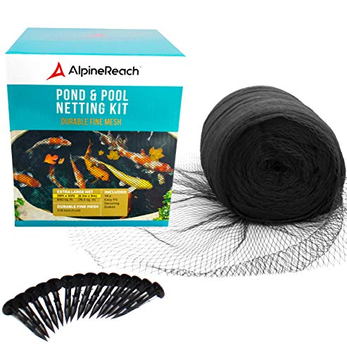 AlpineReach 28 x 30 Feet Koi Pond Netting Kit Gift Box - Woven Fine Mesh Heavy Duty Stretch Net Cover for Leaves - Protects Koi Fish from Blue Heron Birds Cats Predators UV Protection Stakes Included