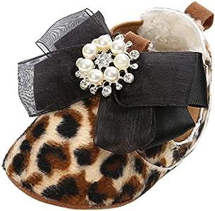 GEMVIE Patucos Bebé Niñas Zapatos Princesa Promeros Pasos Infantil Antideslizante 12-18 Meses Leopardo