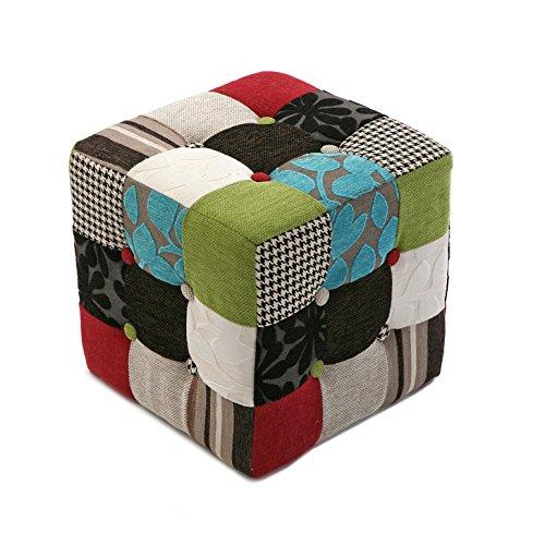 Versa Green Patchwork Taburete Puff Cuadrado Reposapiés para el salón o el Dormitorio, Medidas (Al x L x An) 35 x 35 x 35 cm, Algodón, Color Verde