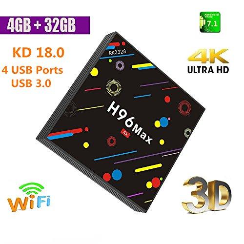 2018 TV Box, 4GB DDR4 + 32GB H96 Max Smart TV Box 4K Android 7.1.2 CPU quad core RK3328 Wifi Set Top Box Supporto TV 4K Ultra HD TV