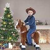 PonyCycle Offizielle Klassisch U-Serie Reiten auf Pferd Spielzeug Plüsch Lauftier Braunes Pferd für Alter 4-9 Mittlere Größe U424