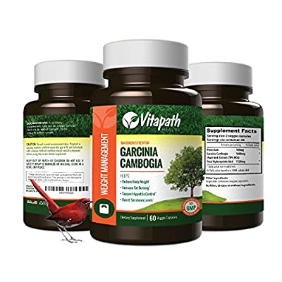 Garcinia Cambogia Extract 1600MG -100% All Natural- Fat Blocker- Premium Weight Loss Management - Appetite Suppressant -By Vitapath