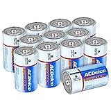 ACDelco 12-Count D Batteries, Maximum Power Super Alkaline Battery, 10-Year Shelf Life, Recloseable Packaging