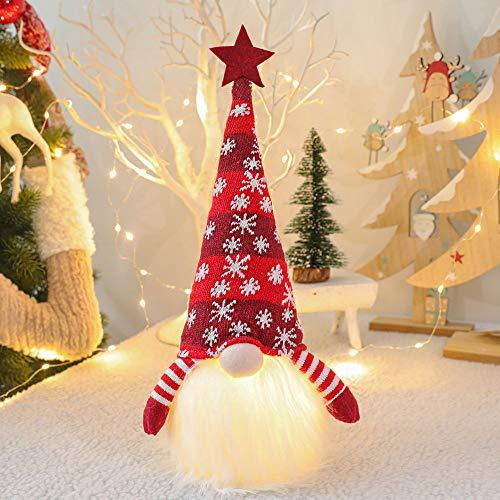 Falamka Weihnachten GNOME Plüsch Lichter Handmade Nordic Figur Skandinavisch Tomte Schwedisch,Platziert Weihnachtsbaum Anhänger Dekoration,Home Glowing Dekorationen (Rot)